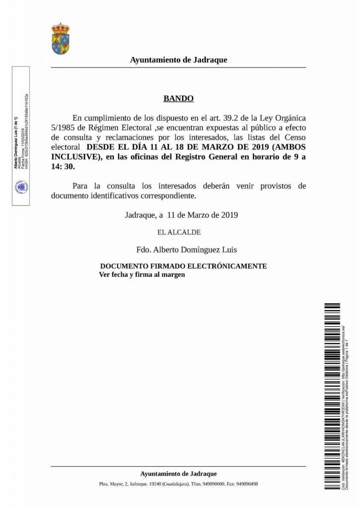 20190311_Bando exposición y consulta Censo Electoral