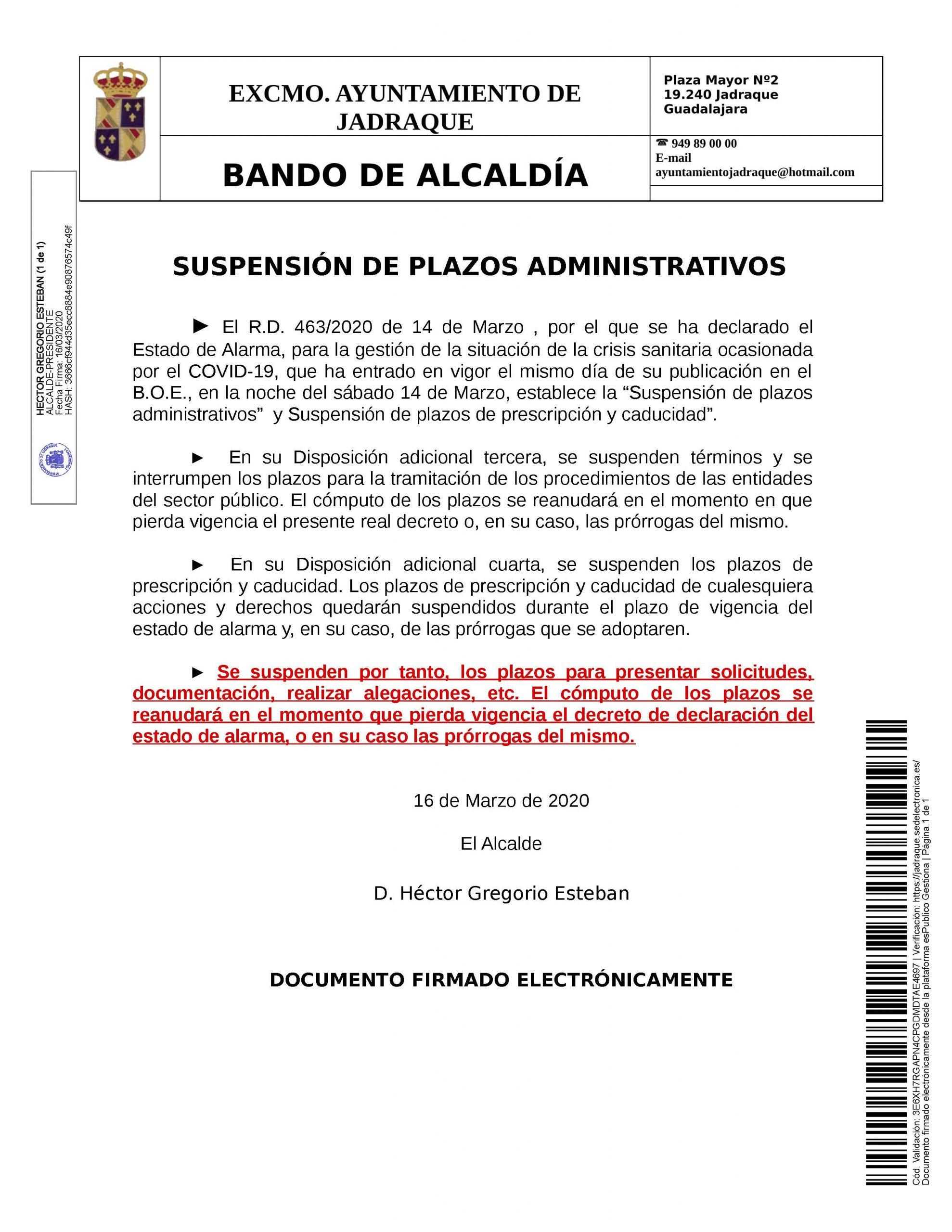 20200316_Publicación_Bando_BANDO SUSPENSIÓN PLAZOS ADMINISTRATIVOS .ESTADO DE ALARMA
