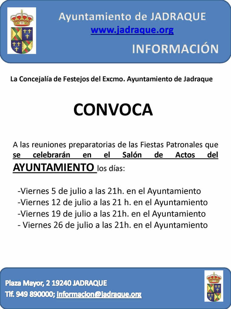 CARTEL CONVOCATORIA REUNIONES FIESTAS JULIO 2019