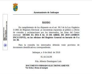 Bando Censo Electoral