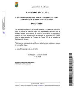 Suspensión Fiestas Castilblanco