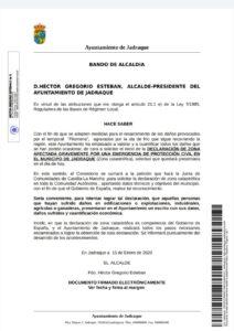 Bando Alcaldía DECLARACIÓN DE ZONA AFECTADA